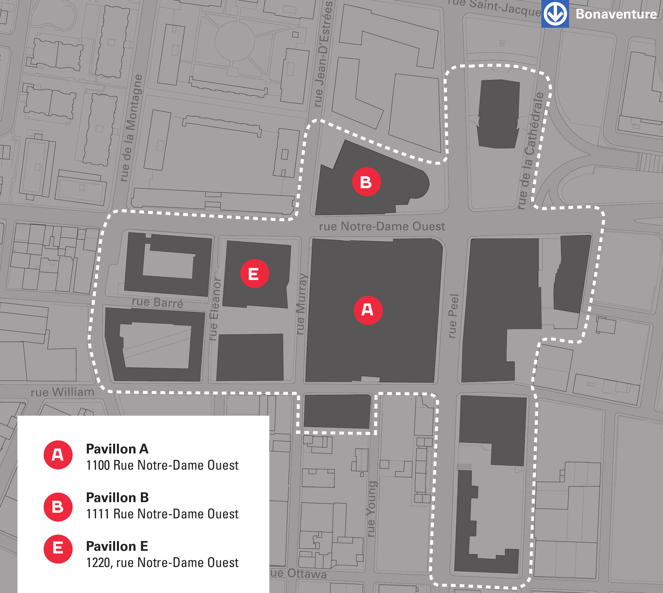 Map of ÉTS campus